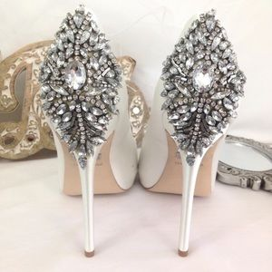 Badgley Mischka White Kiara Bridal Heels 8